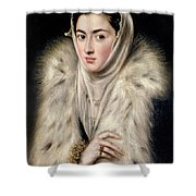 Lady In A Fur Wrap Shower Curtain