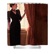 Lady In Black By Window Shower Curtain