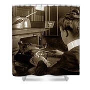 Lady In Early Kitchen Cooking Turkey Dinner 1900 Shower Curtain