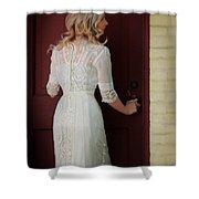 Lady In Edwardian Dress Opening A Door Shower Curtain