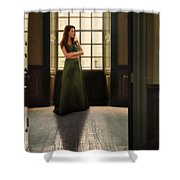 Lady In Green Gown By Window Shower Curtain by Jill Battaglia