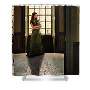 Lady In Green Gown By Window Shower Curtain by Jill Battaglia