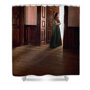 Lady In Green Gown In Doorway Shower Curtain by Jill Battaglia