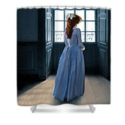 Lady In Purple Gown By Window Shower Curtain