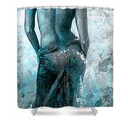Lady In Red #27 Digital Colored Version Blue Aqua Shower Curtain
