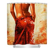 Lady In Red 27re Large  Shower Curtain