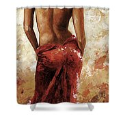 Lady In Red 27 Soft Color Shower Curtain by Emerico Imre Toth
