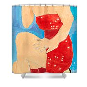 Lady In Red Shower Curtain by Don Larison