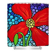 Lady In Red - Poppy Flower Art By Sharon Cummings Shower Curtain