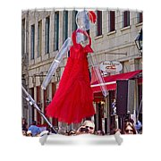 Lady In Red Watching Filming Of Today Show In Old Montreal-qc Shower Curtain