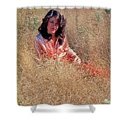 Lady In The Grass - Vert Shower Curtain