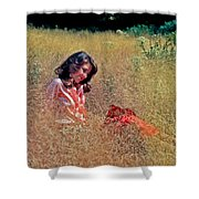 Lady In The Grass -horiz Shower Curtain