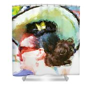 Lady In The White Hat And Trim Shower Curtain