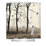 Lady In White In Autumn Landscape Shower Curtain