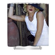 Lady In White Palm Springs Shower Curtain
