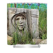 Lady In Wood Shower Curtain