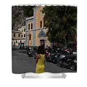 Lady In Yellow By The Church Of San Francesco Maiori Italy Shower Curtain