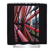 On The Isle Of Man, Lady Isabella Wheel Close Up Shower Curtain