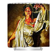 Lady Justice Sepia Shower Curtain