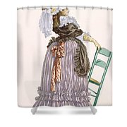 Lady Leaning On Chair, Engraved Shower Curtain