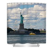Lady Liberty And Water Taxi Shower Curtain