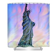 Lady Liberty Blues Shower Curtain