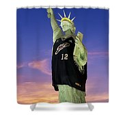 Lady Liberty Dressed Up For The Nba All Star Game Shower Curtain by Susan Candelario