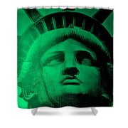 Lady Liberty In Copper Green Shower Curtain