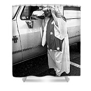 Lady Liberty Marge Stukel Parade Tucson Arizona Black And White Shower Curtain