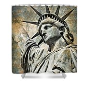 Lady Liberty Vintage Shower Curtain by Delphimages Photo Creations