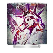 Lady Liberty Watercolor Shower Curtain