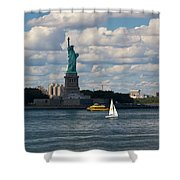 Lady Liberty With Sailboat And Water Taxi Shower Curtain