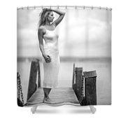 Lady On A Base 4 Shower Curtain