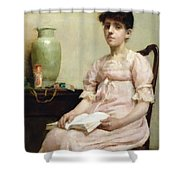 Lady Reading Shower Curtain