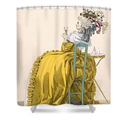 Lady Reclines On Chair Drinking Shower Curtain