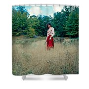 Lady Standing In Grass 2 Shower Curtain