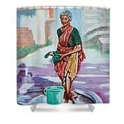 Lady Washing Clothes Shower Curtain
