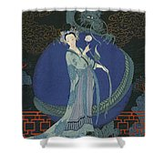Lady With A Dragon Shower Curtain