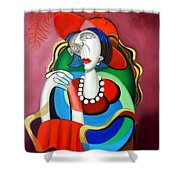 Lady With A Red Hat Shower Curtain