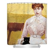 Lady With Black Kitten Shower Curtain