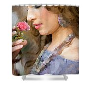 Lady With Pink Rose Shower Curtain