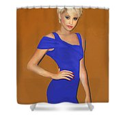 Lady With The Blue Dress Shower Curtain