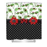 Ladybug Flower Power Shower Curtain