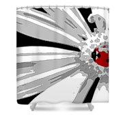 Ladybug On Daisy Shower Curtain