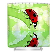 Ladybug On Leaf Looking At Water Reflection Shower Curtain