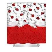 Ladybug Red And White  Shower Curtain