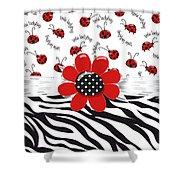 Ladybug Wild Thing Shower Curtain