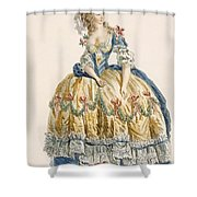 Ladys Elaborate Ball Gown, Engraved Shower Curtain