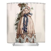 Ladys Summer Walking Gown, Engraved Shower Curtain
