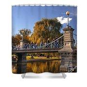 Lagoon Bridge In Autumn Shower Curtain by Joann Vitali